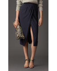 Burberry Gather Detail Silk Skirt - Lyst