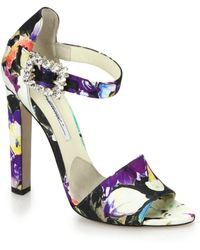 Brian Atwood Iosy Strass Jeweled-Buckle Floral-Print Silk Sandals - Lyst