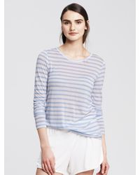 Banana Republic Striped Modal Lounge Crew - Lyst