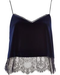 River Island Navy Velvet Lace Cami Top - Lyst