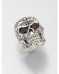 King Baby Studio Garnet And Sterling Silver Skull Ring - Lyst
