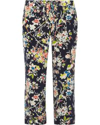 Equipment Landon Floral-print Washed-silk Straight-leg Pants - Lyst