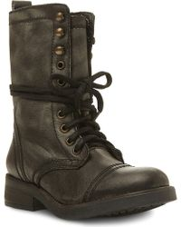 Steve Madden Monch Leather Lace Up Combat Boots - Lyst