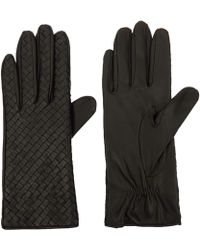 Portolano Black Nappa Weave Leather Gloves - Lyst