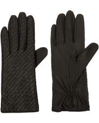 Portolano Black Nappa Weave Leather Gloves black - Lyst