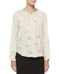 L'Agence Jacquard Tiefront Poet Blouse - Lyst