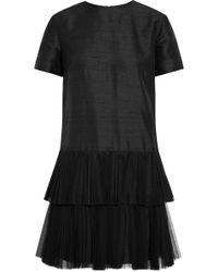 House Of Holland Phyllie Tulle-trimmed Silk-shantung Mini Dress - Lyst