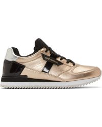 Dolce & Gabbana Gold Leather and Neoprene Sneakers - Lyst