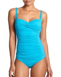 La Blanca Core Shirred Tankini Top - Lyst