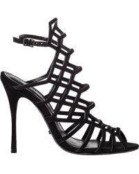 Schutz Julianna Suede Sandals black - Lyst