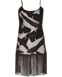 River Island Black Lace Leaf Print Fringed Cami Dress - Lyst