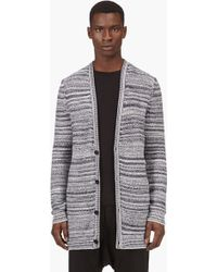 Silent - Damir Doma - White and Navy Marled Knit Cardigan - Lyst