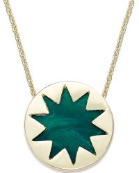 House Of Harlow Gold-tone Green Sunburst Mini Pendant Necklace - Lyst