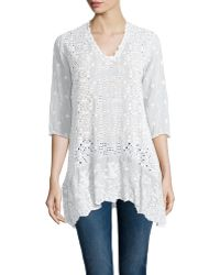Johnny Was | Taffy 3/4-sleeve Georgette Tunic | Lyst
