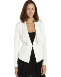 BCBGMAXAZRIA Off White Stretch Woven Kelvin Relaxed Collar Jacket - Lyst