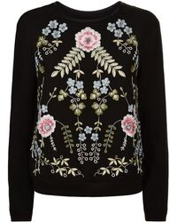 Needle & Thread - Embroidered Crepe Sweater - Lyst