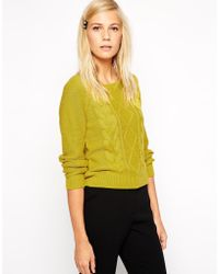 Oasis Crop Cable Sweater - Lyst