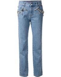 Emanuel Ungaro - Embellished Loose-Fit Straight Denim Jeans - Lyst