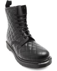 Dr. Martens Quilted Black Leather Boots - Lyst
