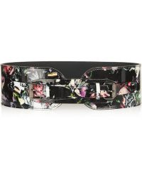 McQ by Alexander McQueen Floral-print Patent-leather Belt - Lyst