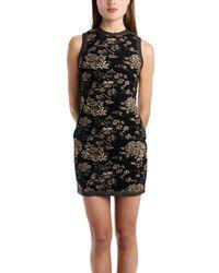 Coven - Floral Metallic Mini Dress In Black - Lyst