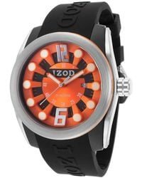 Izod - Men's Challenger Black Rubber Orange Dial - Lyst