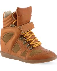 Isabel Marant Buck Leather and Suede Wedge Trainers Beige - Lyst