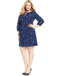 Tahari By Asl Plus Size Printed Keyhole Boat-neck Shift - Lyst