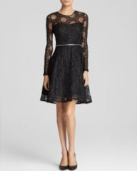 Yigal Azrouel Dress - Embroidered Tulle Lace Zip Waist Flare - Lyst