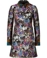 Valentino Brocade Butterfly Dress with Feather Trim - Lyst