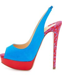 Christian Louboutin Suede Peep-Toe Red Sole Pump - Lyst