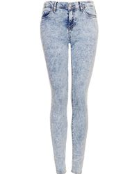 Topshop Moto Acid Wash Leigh Jeans - Lyst