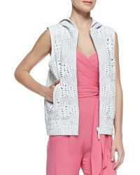 Catherine Malandrino Reptile Textured Hooded Leather Vest - Lyst