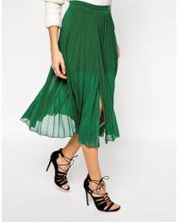 Asos Pleated Midi Skirt With Splits - Lyst