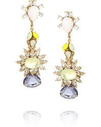 Bijoux Heart - Gold-Plated, Swarovski Crystal And Tanzanite Earrings - Lyst