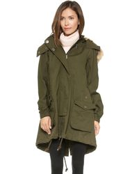 La't By L'agence Parka with Faux Fur Hood  Army Green - Lyst