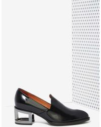 Nasty Gal Serling Leather Loafers - Silver Heel black - Lyst