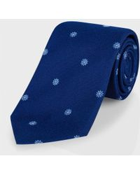 Paul Smith Navy Floral Jacquard Textured-Silk Classic Tie - Lyst
