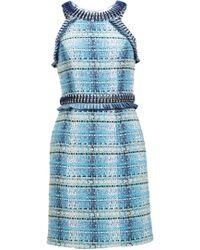 Matthew Williamson Indigo Tweed Embroidered Mini Dress - Lyst