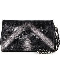 Roberto Cavalli Leather Glittered Python Clutch - Lyst