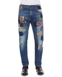 True Religion Dean Well-Traveled Patchwork Denim Jeans - Lyst