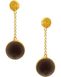 Kasturjewels - 22kt Gold Plated Brass Smokey Quartz Stone Earrings - Lyst