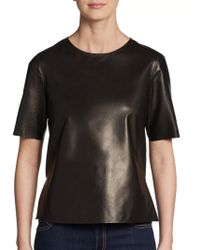 Vince Leather Tee - Lyst