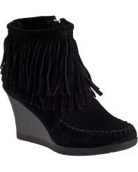 Minnetonka Double Fringe Ankle Boot Black Suede - Lyst