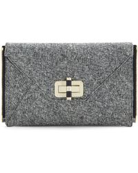 Diane von Furstenberg Agent Audrey Tweed Zip On Clutch silver - Lyst