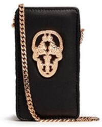 Thomas Wylde 'Who'S Calling' Metal Skull Leather Phone Case - Lyst