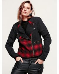 Free People Plaid Pieced Moto Jacket - Lyst