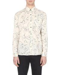 Dries Van Noten Floral Cotton Shirt - For Men, Ecru (Beige) - Lyst
