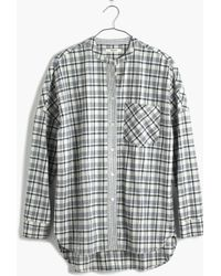 Madewell Collarless Messenger Shirt In Dossier Plaid - Lyst