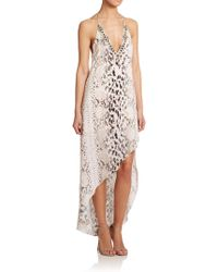 Haute Hippie Embellished Asymmetrical Silk Dress - Lyst